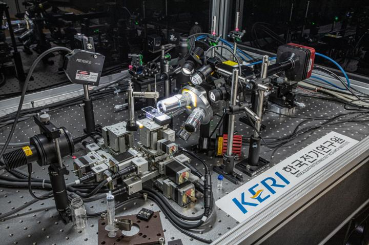 A Korean research team developed a technology to produce a nano display with a super-high-resolution based on a 3D printing technique. Courtesy of Korea Electrotechnology Research Institute (KERI).