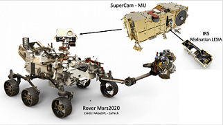 The NASA Mars Rover Perseverance with the SuperCam extracted. courtesy of Optosigma via LESIA/Observatoire de Paris/PSL.