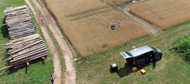 Headwall Photonics lightweight hyperspectral UAV takes off for a flight above an experimental agricultural field. Headwall will partner with Purdue University to provide remote sensing and spectral imaging solutions for precision agriculture. Courtesy of geo-konzept GmbH, 2020.