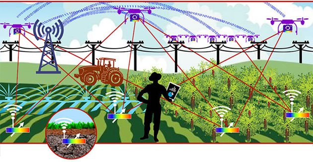 IoT4Ag researchers will work in three interconnected projects: sensing, communication/energy and response. Tiny, plantable sensors will need to send data to robots and other farm equipment, all of which also will need to be able to talk to the cloud. Finally, all of this data must be integrated with that from the wider internet and fed back to farmers so they can make better decisions. Courtesy of Julie Colton/Purdue University.