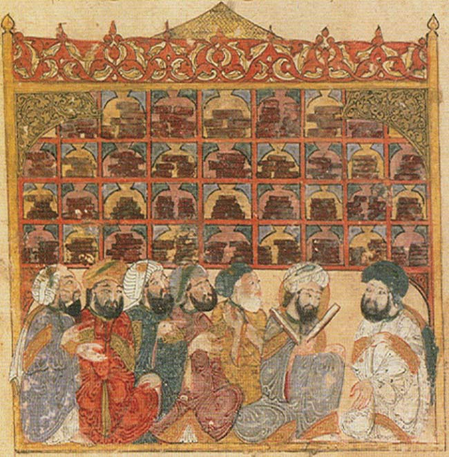 Maqamat of al-Hariri by Yahyá al-Wasiti (1237) depicts an illustration of scholars at an Abbasid library. Courtesy of National Library of France in Paris.