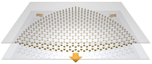 Straining a honeycomb metasurface generates an artificial magnetic field for light which can be tuned by embedding the metasurface inside a cavity waveguide. Courtesy of the University of Exeter.