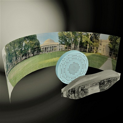 3D artistic illustration of the wide-field-of-view metalens capturing a 180° panorama of MIT's Killian Court and producing a high-resolution monochromatic flat image. Courtesy of Mikhail Shalaginov et al.