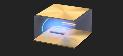 Two gold mirrors separated by a small distance house plasmonic gold nanorods, allowing the study of ultrastrong light-matter coupling at room temperature. Courtesy of Denis Baranov, Chalmers University of Technology