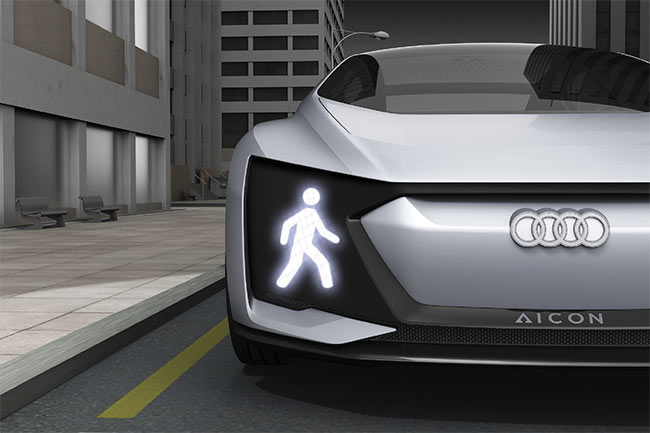 Figure 2. An Audi Aicon C2 with its pedestrian warning light displayed. Courtesy of Audi.