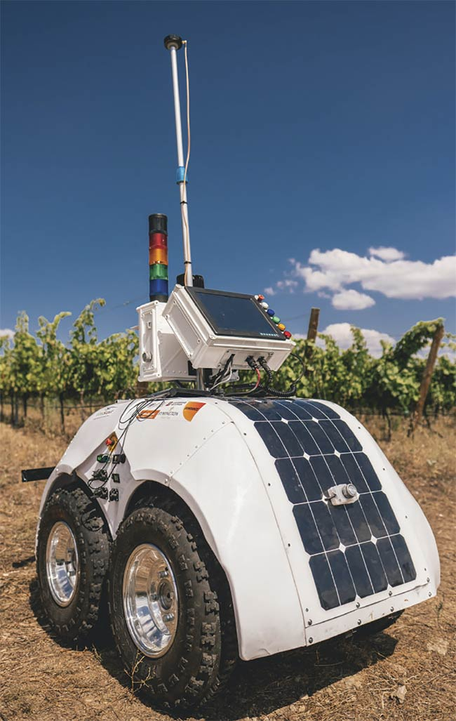 A prototype of a vineyard health-monitoring robot developed for the European Union's VineScout viticulture project. The limited footprint and power budget allotted to embedded vision systems require design and programming to be highly application-specific. Courtesy of iStock.com/Zephyr18.