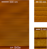 Scanning transmission electron microscopy (STEM) images of one of the Ge/SiGe heterostructures at different magnifications. The SiGe layers appear darker. Courtesy of Università Roma Tre, De Seta Group.