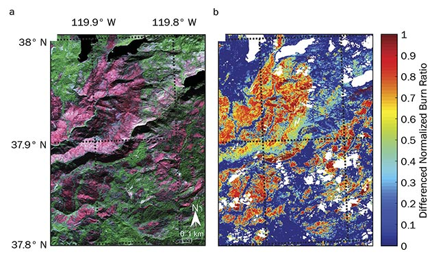 A post-fire color composite image captured by JPL's AVIRIS over the 2013 Rim fire in California (a). The same area shown as a hyperspectral differenced normalized burn ratio (b). See Reference 1. Courtesy of Sander Veraverbeke.
