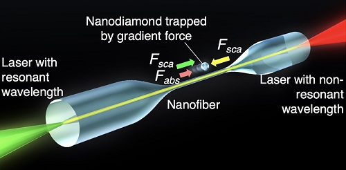 The optical forces acting on the nanodiamond. The nanodiamond absorbs a part of the laser light that shines on it (Fabs); some of the light is also scattered (Fsca). The interactions between these forces causes the movement of the nanodiamond. Courtesy of Hideki Fujiwara et al. (Science Advances).