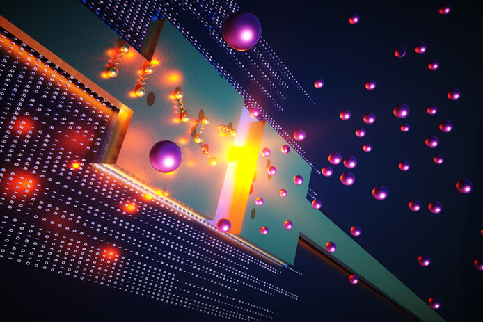 This illustration depicts a newly developed component, known as a Josephson junction that can detect a single photon of light. The research, led by Raytheon Intelligence & Space, has potential applications for sensors, communications and quantum computers. Courtesy of Raytheon BBN Technologies.