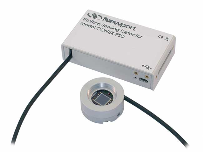 The CONEX-PSD10GE Position Sensing Detector provides accurate XY position information of 800- to 1700-nm laser beams and is ideally suited for laser beam stabilization, laser tracking and general beam diagnostics. Unlike quadrant detectors, the improved tetra-lateral effect diode of the CONEX-PSD10GE is highly linear over the full sensor size of 10 × 10 mm, and delivers a third signal proportional to the beam power.