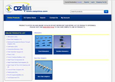 OZ Optics's Online Catalog