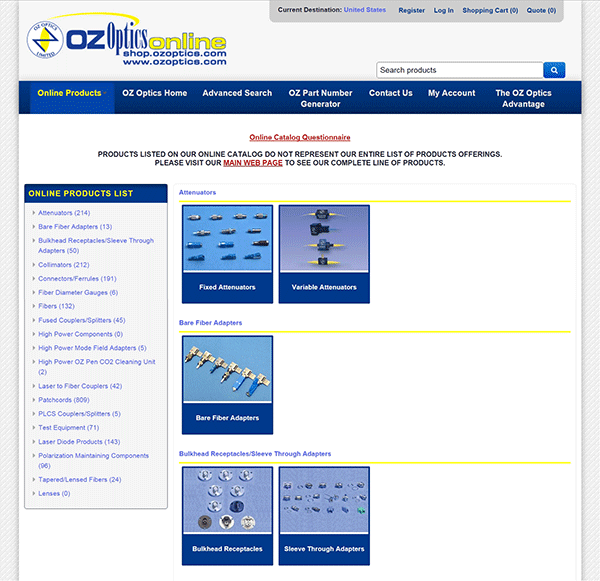 Oz Optics' Online Catalog
