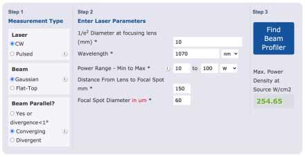 Laser Beam Profiler Finder