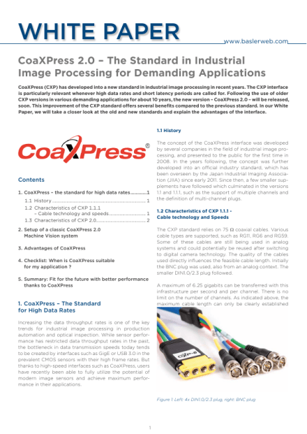 CoaXPress 2 0 – The Standard in Industrial Image Processing for